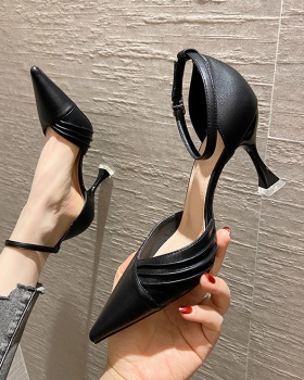 Low black shoes France style high-heeled shoes for women