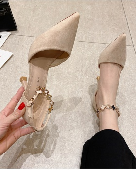 All-match pointed high-heeled shoes maiden fine-root shoes