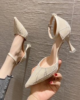 Cingulate fine-root shoes pointed high-heeled shoes