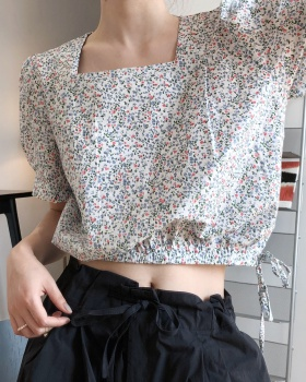 France style short sleeve shirt floral tops for women