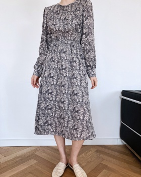 France style spring tender long sleeve chiffon dress