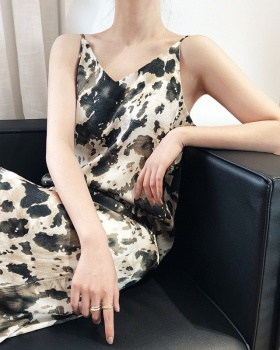 France style retro dress printing long strap dress