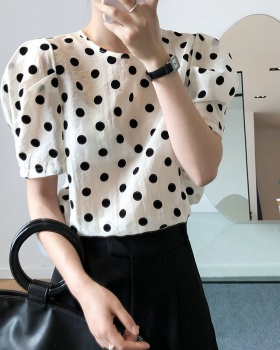 Thin Western style tops summer polka dot shirt for women