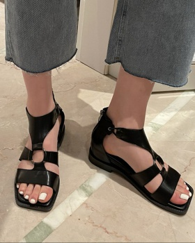 Hollow square head summer boots flat sandals for women