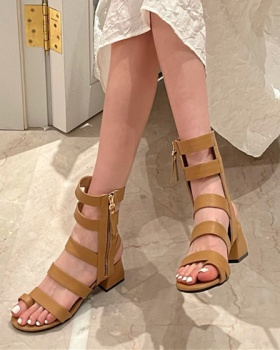 Middle-heel hollow round spring and summer sexy sandals for women