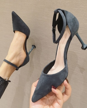 Broadcloth high-heeled shoes black shoes for women