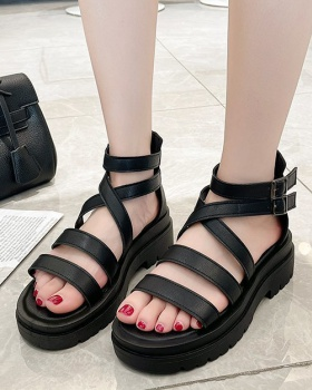 Korean style after the zipper shoes rome sandals for women