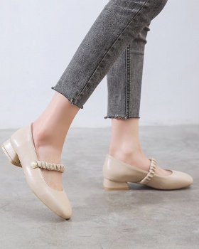 Low summer flattie square head Korean style shoes for women
