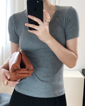 Knitted bottoming shirt short sleeve clavicle for women