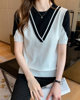 Round neck slim sweater Cover belly tops for women