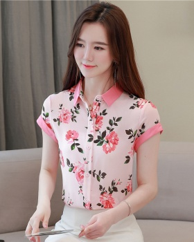 Mixed colors floral slim shirt fashion summer tops for women