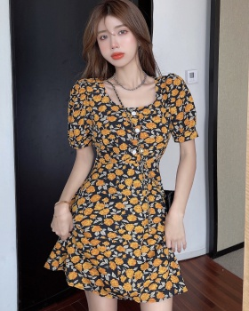 Square collar chiffon slim floral France style halter dress
