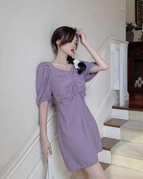 Puff sleeve Korean style square collar dress for women