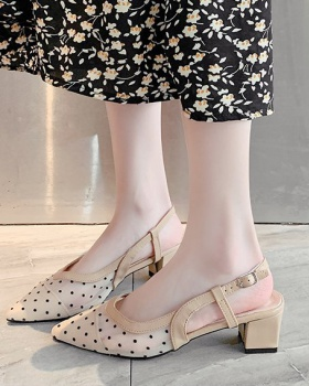 Fashion middle-heel Korean style gauze pointed sandals