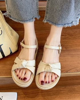 Hasp rome open toe shoes student fish mouth flat sandals for women