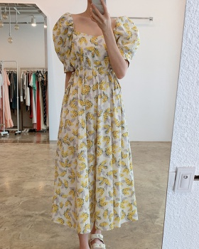 Puff sleeve square collar pinched waist floral dress