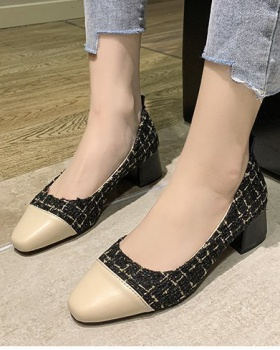 Korean style thick high-heeled shoes square head low shoes