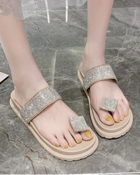 Flat Korean style slippers summer thick crust  for women