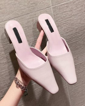 Fashion square head slippers summer middle-heel shoes for women