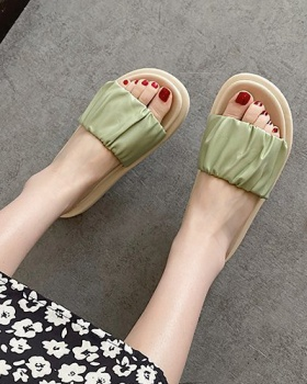 Korean style fish mouth platform soles slippers for women
