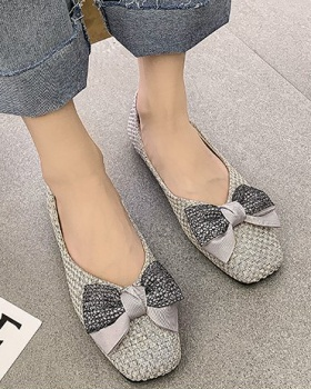 Bow Korean style square head shoes spring low peas shoes