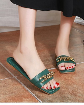 Fish mouth flat square head summer Korean style slippers