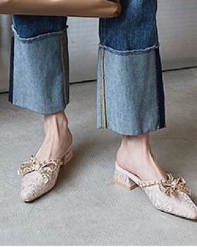 Korean style summer pointed bow thick low slippers
