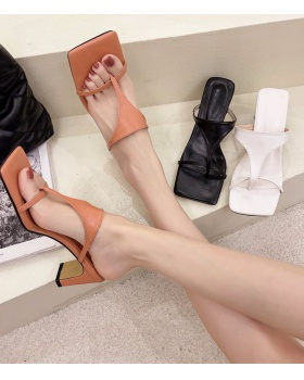 Fashion summer slippers Korean style middle-heel