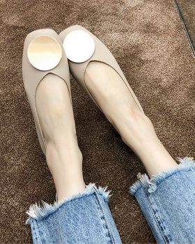 Square head low flat peas shoes Korean style spring shoes