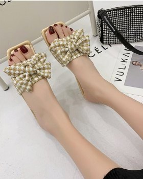 Bow fish mouth square head summer flat slippers