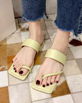 Flat Korean style  square head summer slippers