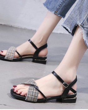Fashion hasp flat Korean style sandals for women