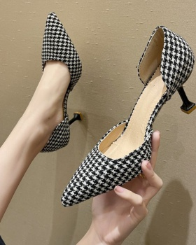 Pointed plaid high-heeled shoes fashion summer shoes