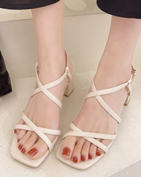 Square head summer Korean style sandals for women