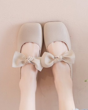 Bow Korean style flattie summer square head shoes for women