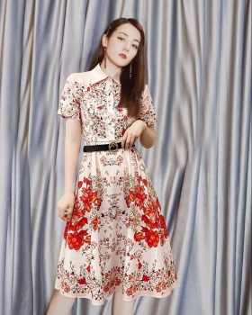 Pinched waist romantic printing cotton slim dress
