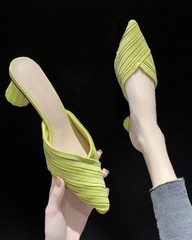 Summer thick Korean style middle-heel pointed slippers