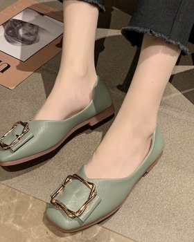 Low spring flattie Korean style square head shoes