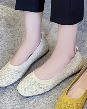 Square head summer peas shoes low Korean style shoes for women