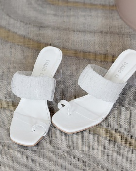 Korean style thick slippers summer crystal  for women