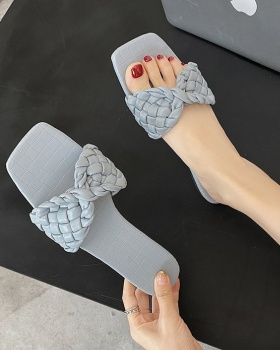 Fashion weave square head fish mouth slippers for women
