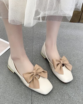 Korean style bow low shoes summer square head flattie