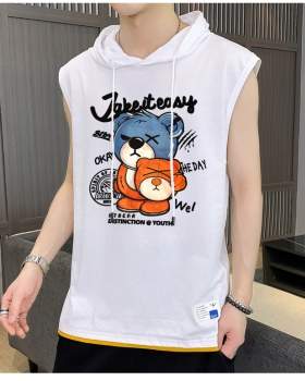 Hooded sleeveless vest summer cotton T-shirt for men