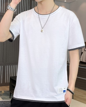Loose short sleeve tops round neck summer T-shirt for men