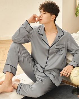 Printing homewear long pants silk pajamas a set for men