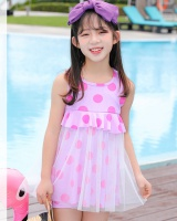 Child refreshing floral summer swim milk silk dress