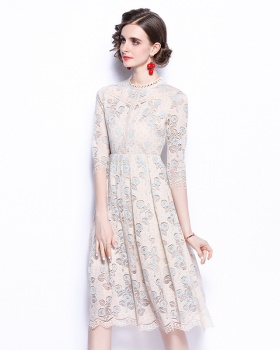 Lace round neck long dress winter embroidery dress