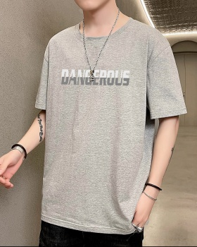 Korean style round neck printing fashion T-shirt for men