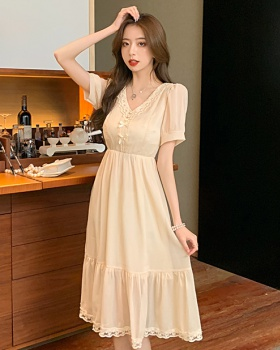 Slim tender France style dress summer V-neck temperament skirt