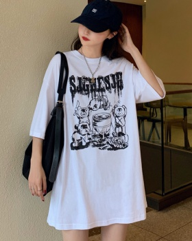Loose printing tops all-match cartoon T-shirt for women